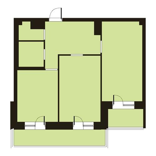 Планировка 2 комн. квартиры