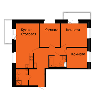 кухня-столовая, трехкомнатная квартира, планировка, прагма парк