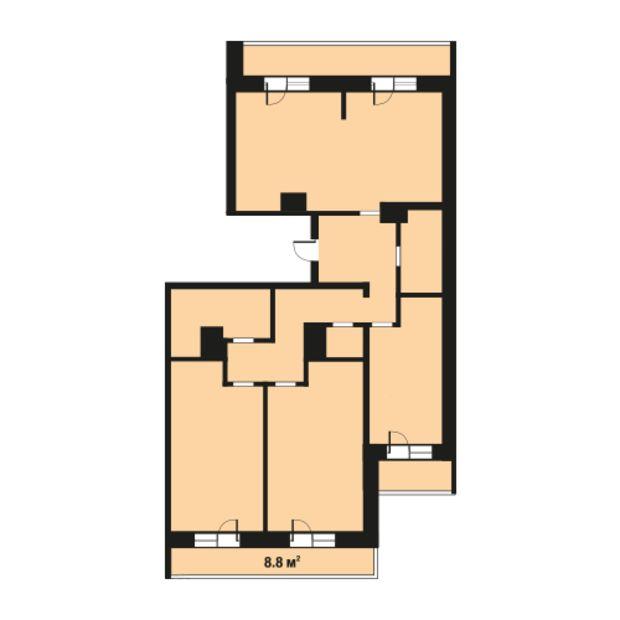 Планировка 3 комн. квартиры
